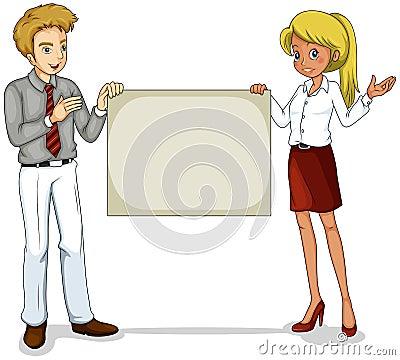 Zwei Geschäftsikonen, die einen leeren Signage halten