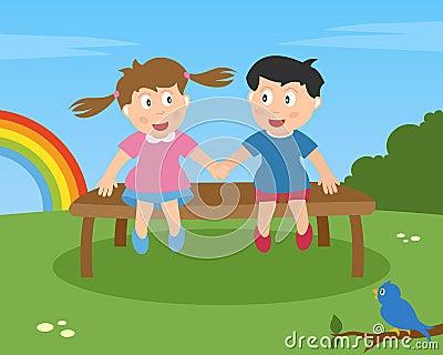 Zwei Kinder in der Liebe auf einer Bank