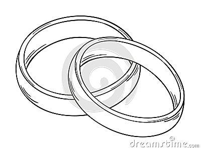 Skizze der zwei Ringe als Symbol der Liebe, lokalisiert.