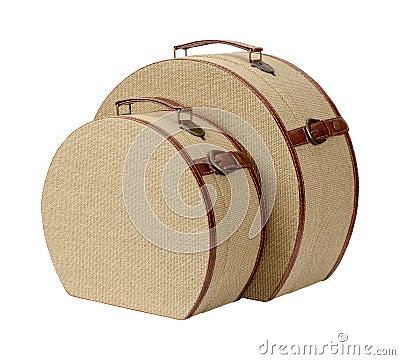 zwei runde deco leinwand koffer stockfoto bild 67597470. Black Bedroom Furniture Sets. Home Design Ideas