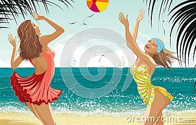 Zwei schöne Mädchen an einem Strand