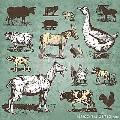 Zwierzęta uprawiają ziemię setu wektoru rocznika