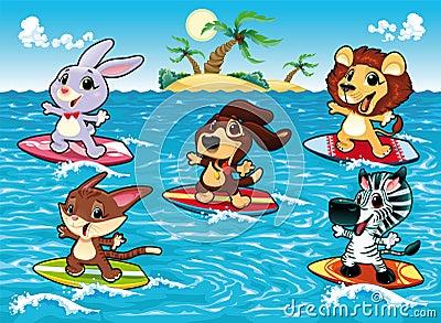 Zwierzę surfing śmieszny denny