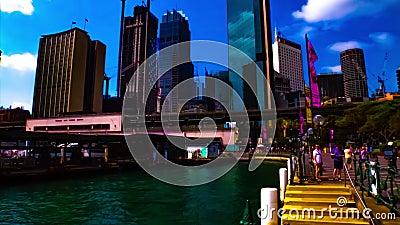 Zwijanie się obszaru zatoki w Circular Quay w Sydney zbiory