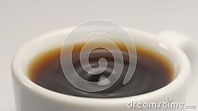 ZWOLNIONE TEMPO: Kawy kropla spada biała filiżanka zbiory