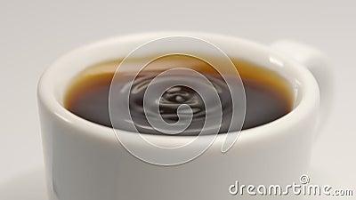 ZWOLNIONE TEMPO: Spadać kawy kropla biała filiżanka - Makro- strzał zbiory