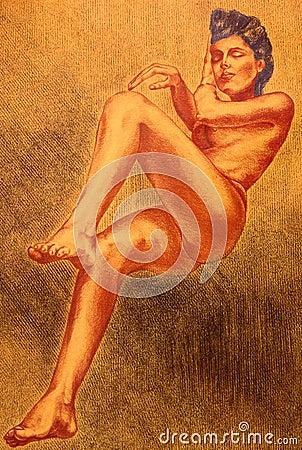 Zwracając naga kobieta