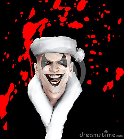 Zły Santa błazen Z krwią