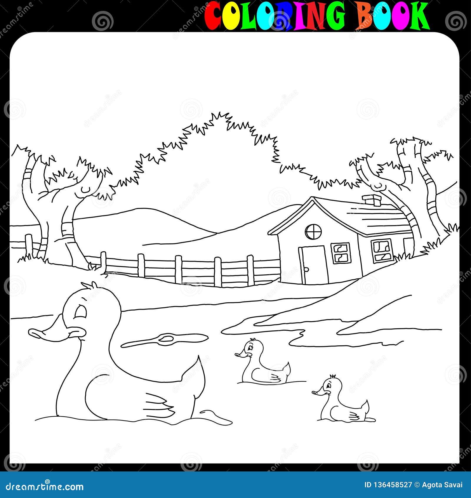 House And Garden With Farm Animals, Coloring Book Stock Vector ...