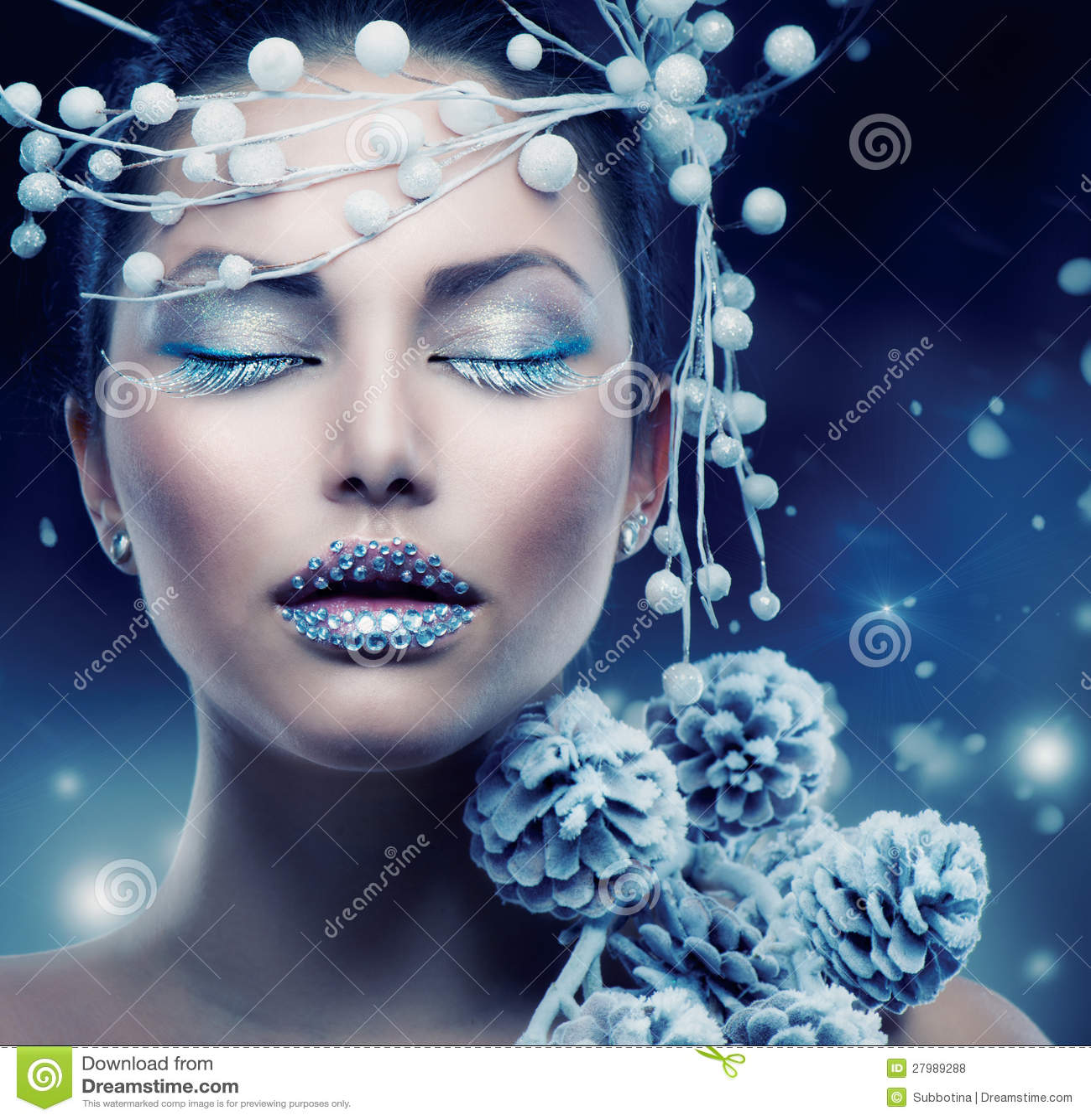 женщина зима