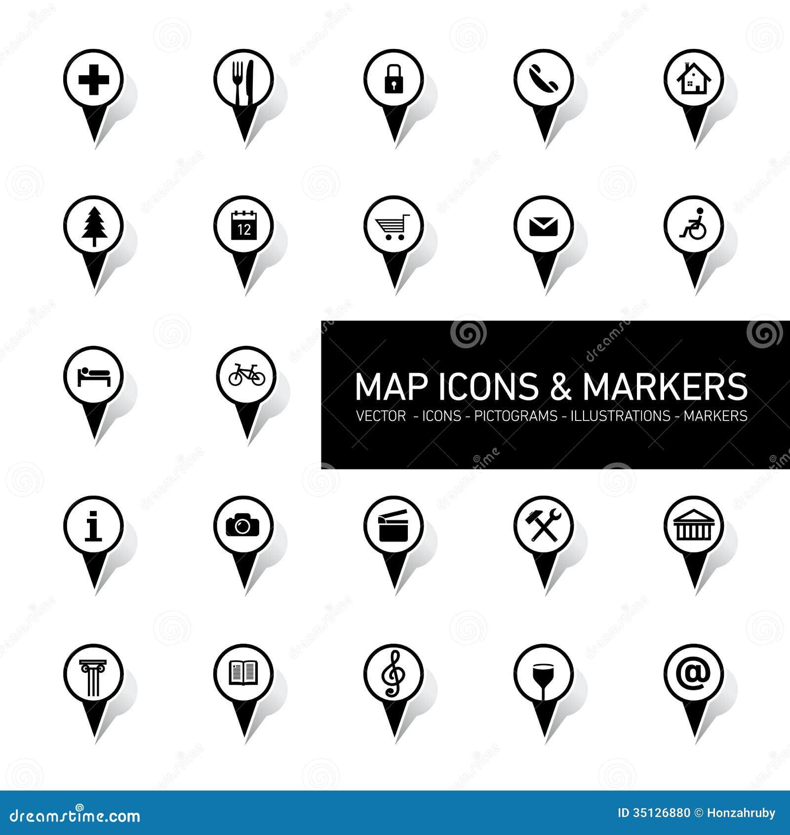 значки на карте: