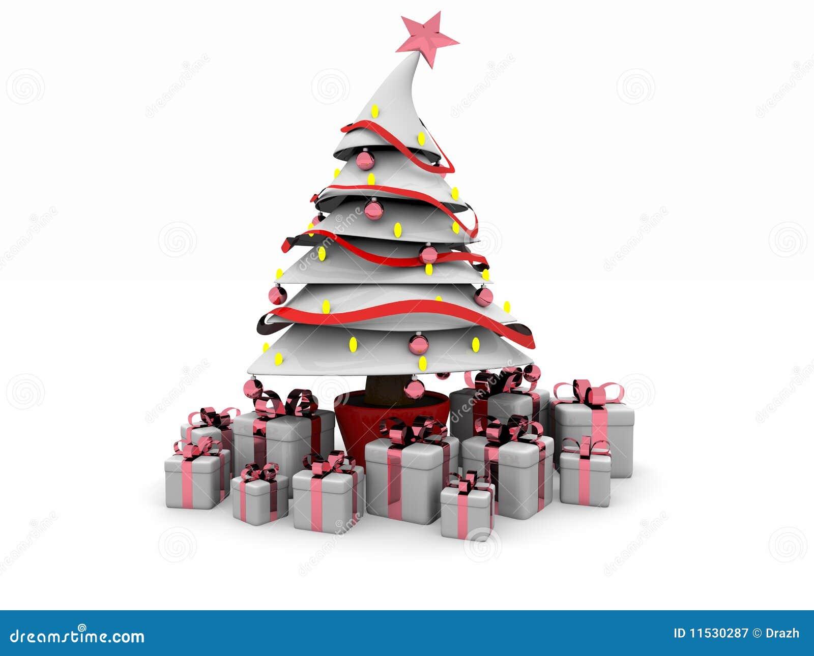 rbol blanco de Navidad 3d stock de ilustracin Ilustracin de