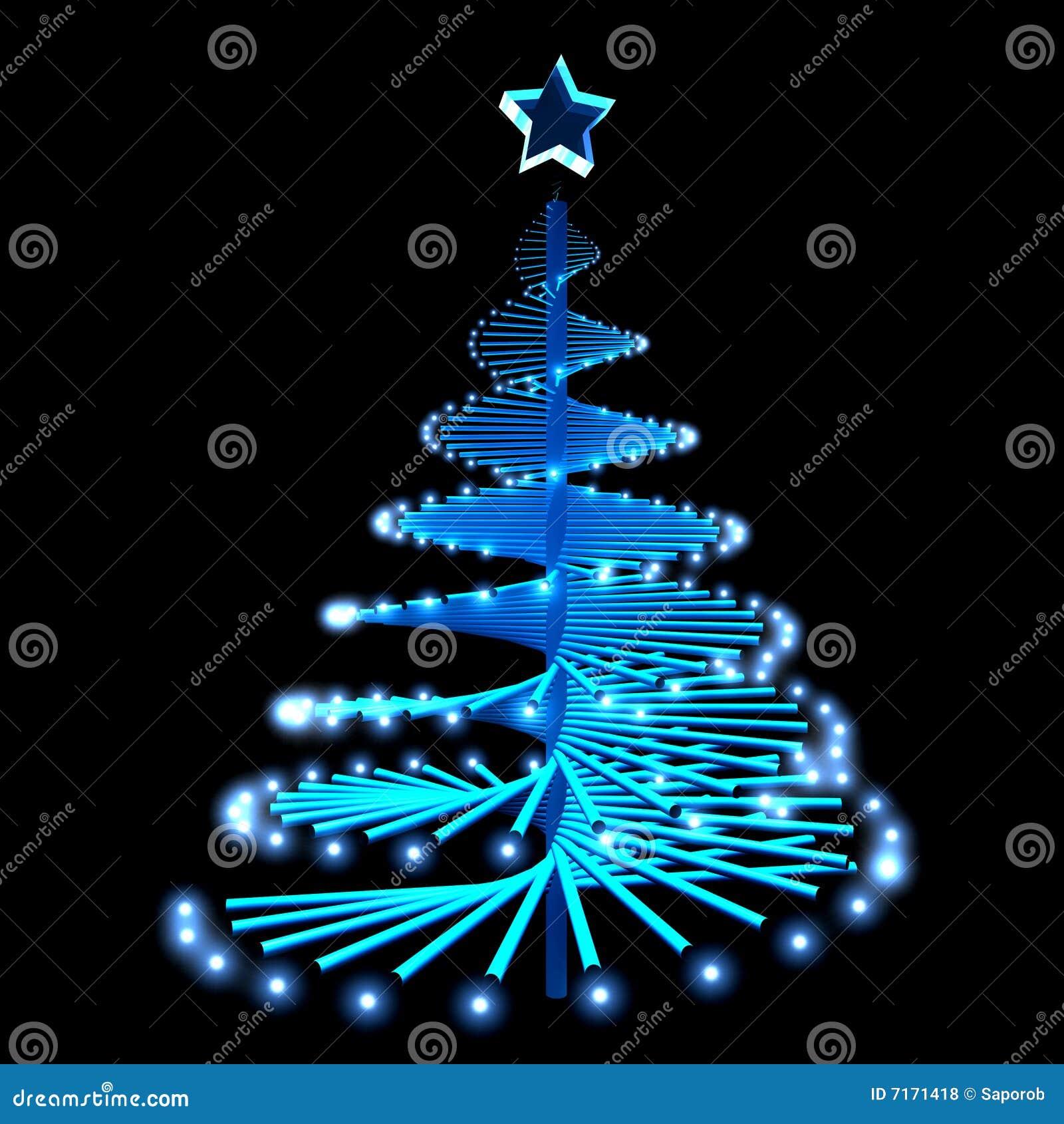 rbol De Navidad Abstracto Con Las Luces Azules Stock de ilustracin
