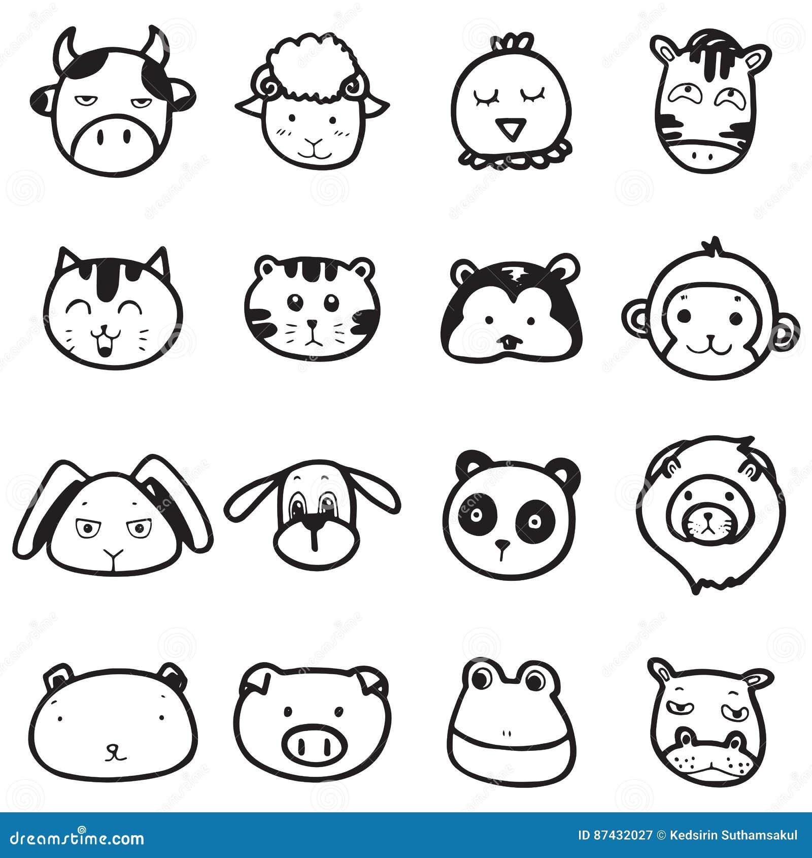 Populaire Émotion Animale De Visage De Dessin De Griffonnage Illustration de  EB27