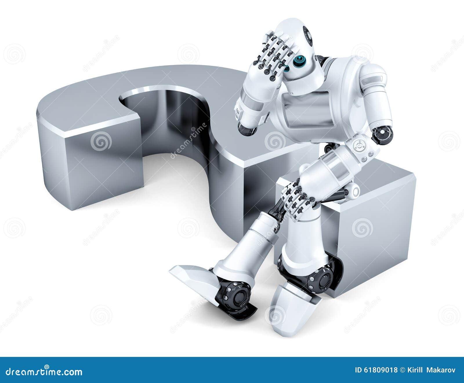 哀傷的周道的機器人坐問號 查出在白色 包含裁減路線.圖片