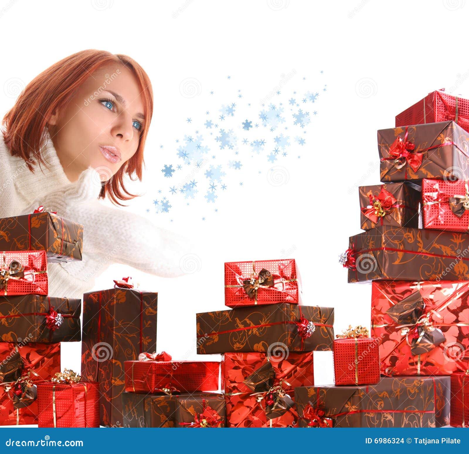 把礼品女孩年轻人装箱