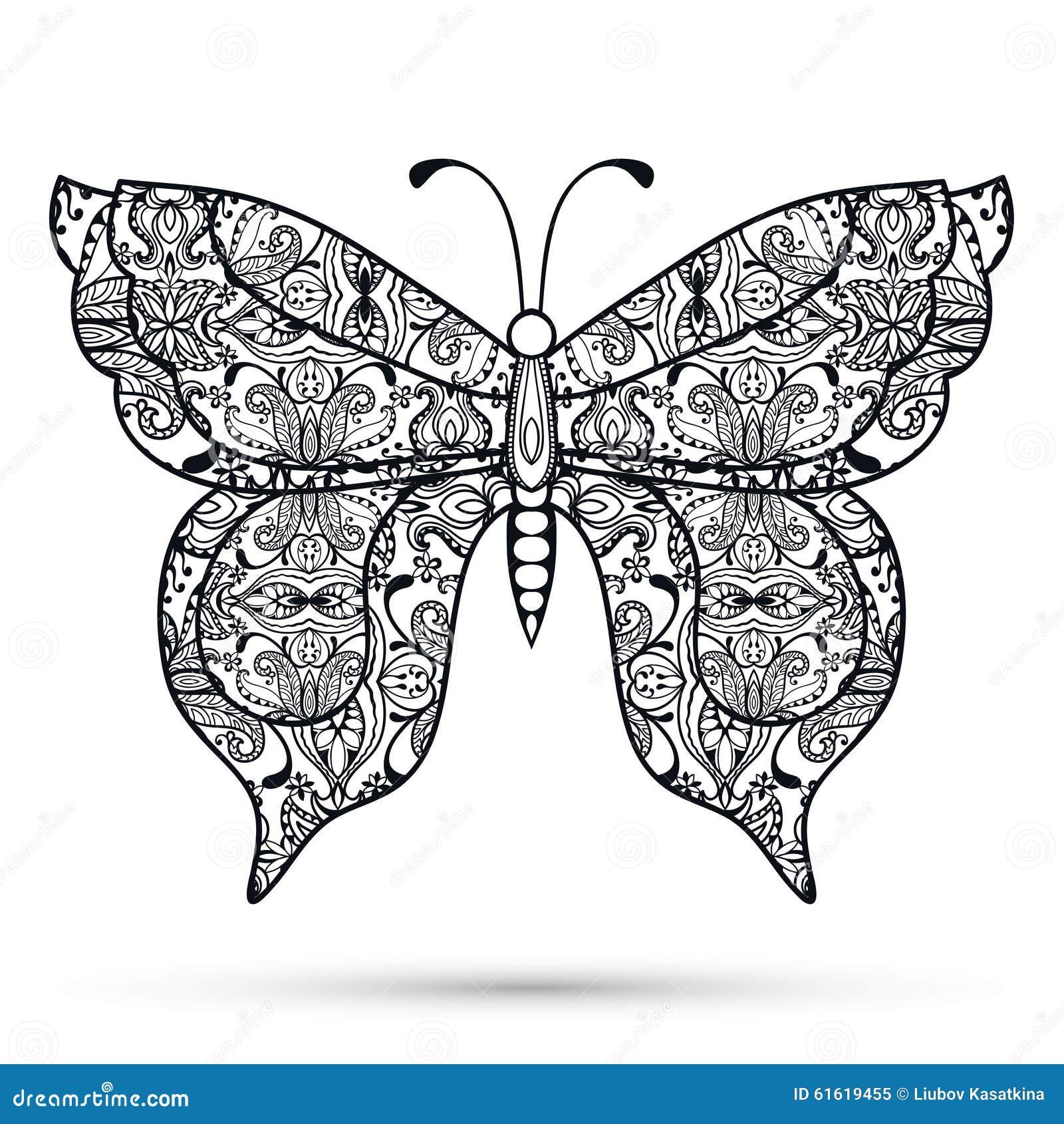 黑白装饰蝴蝶,手拉的剪影纹理邀请的或卡片设计 也corel凹道例证向量.图片