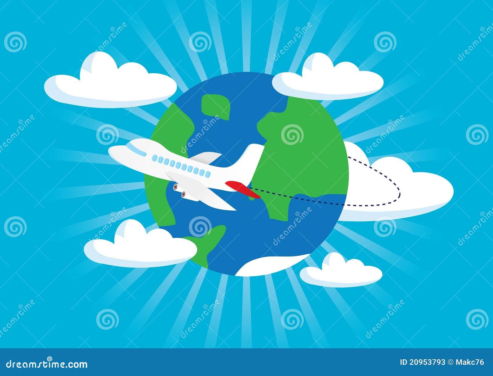 在背景概念飞行地球旅行附近的飞机.图片