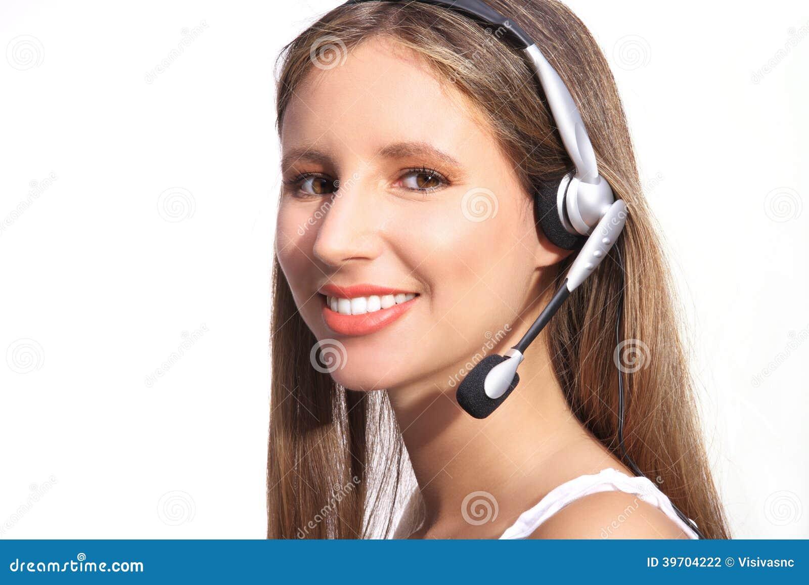 办公室电话接线员,有耳机的美丽的妇女