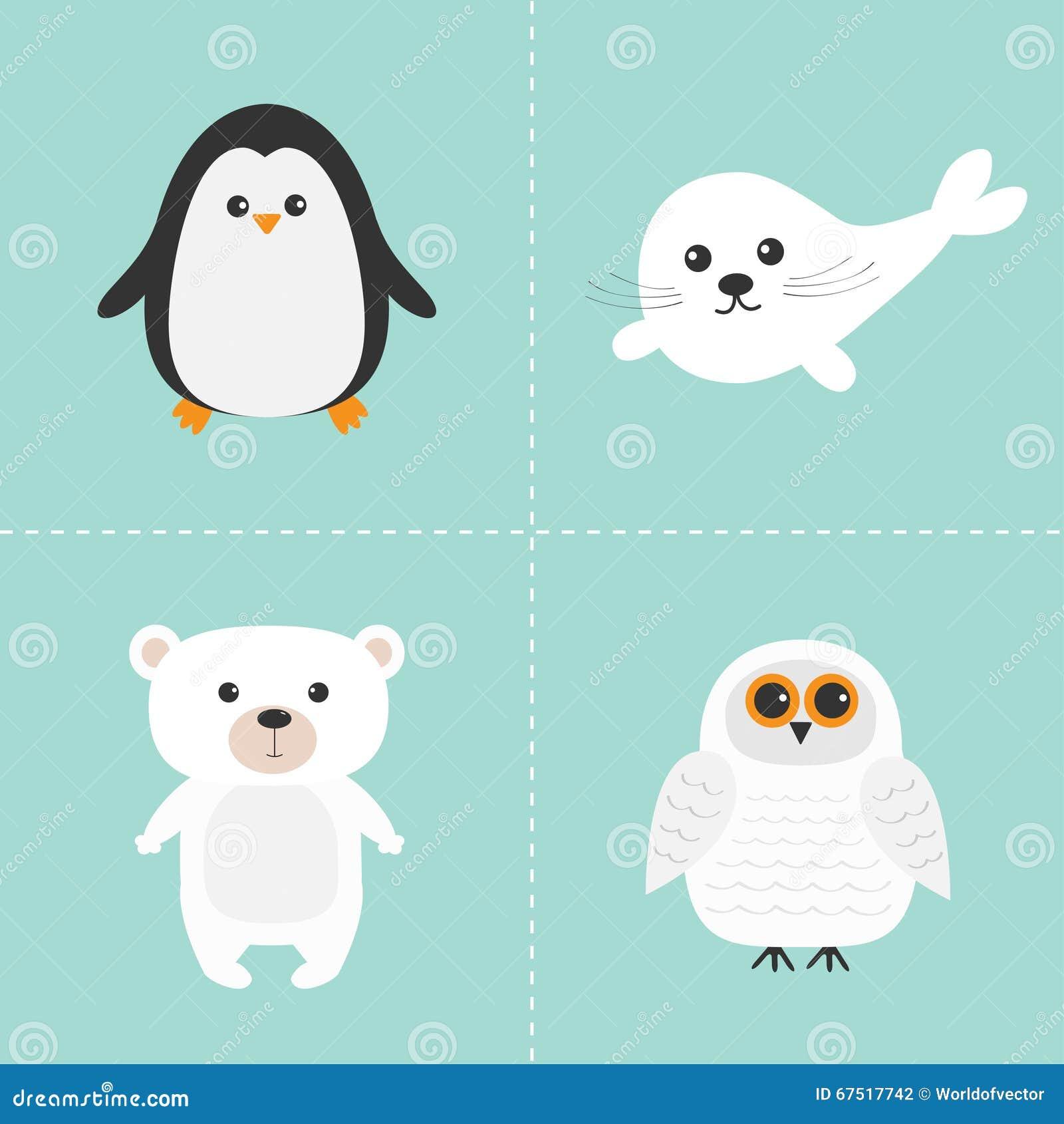 北极极性动物集合 白熊,猫头鹰,企鹅,小海豹婴孩竖琴图片
