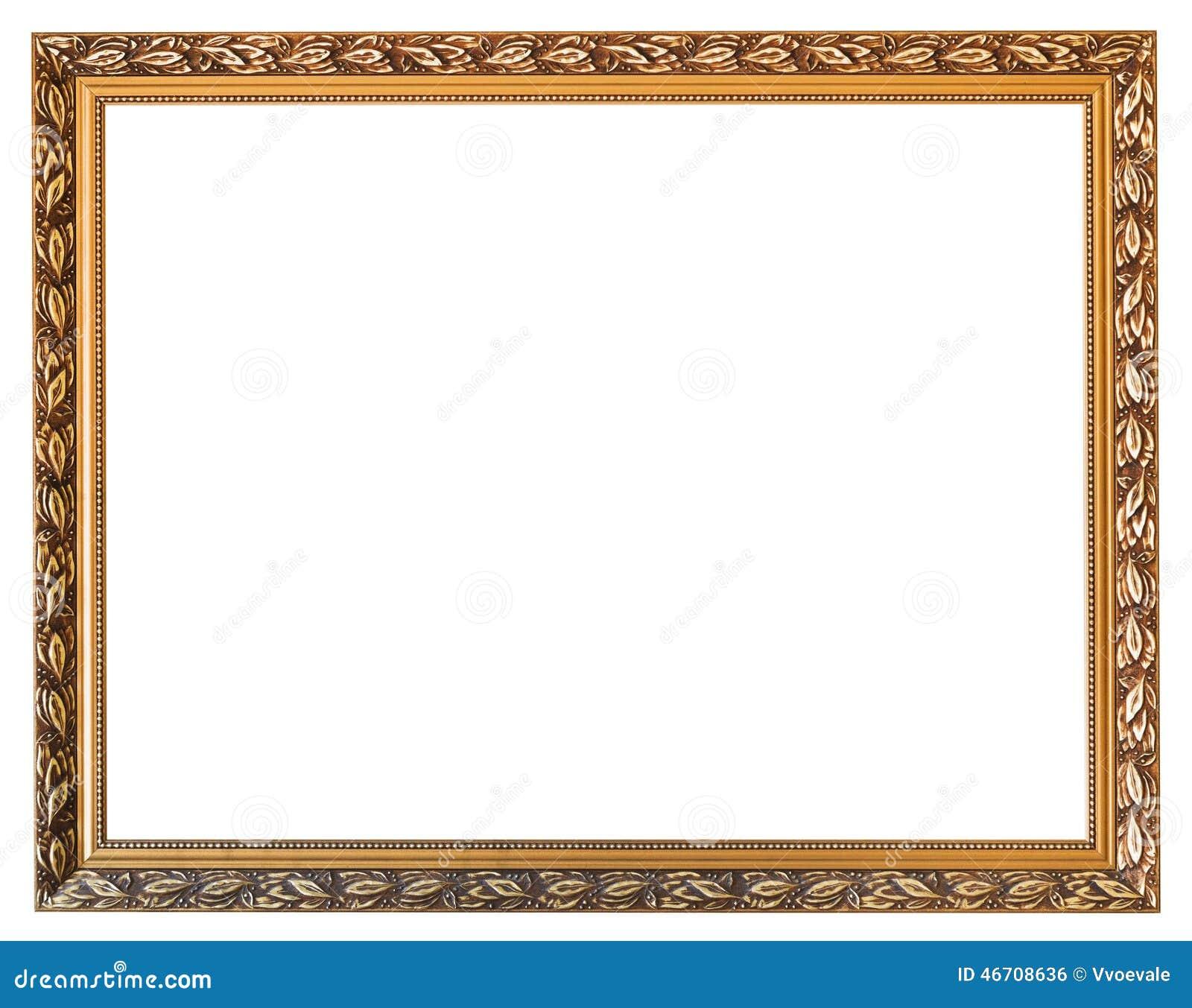 与在白色背景隔绝的被删去的帆布的被雕刻的金黄木画框.图片