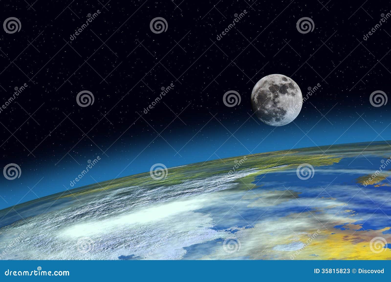 表面行星地球和月亮 库存照片