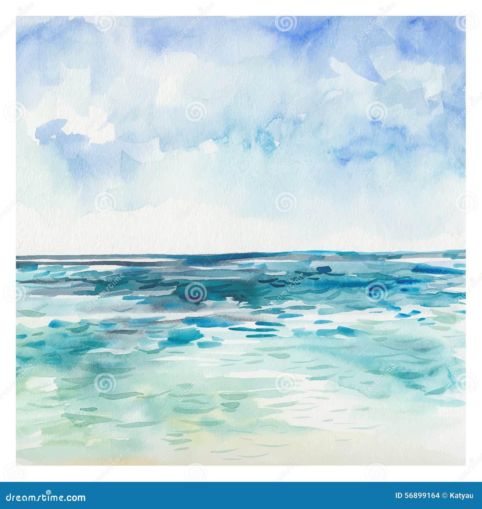 水彩海背景 秋天 夏天海军陆战队员风景