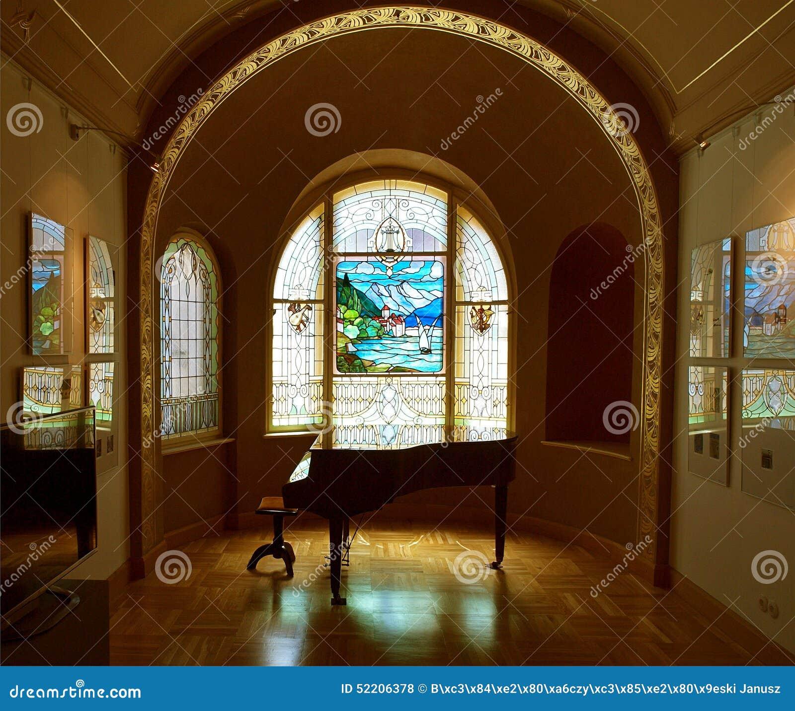 彩色玻璃美术画廊 编辑类库存照片图片
