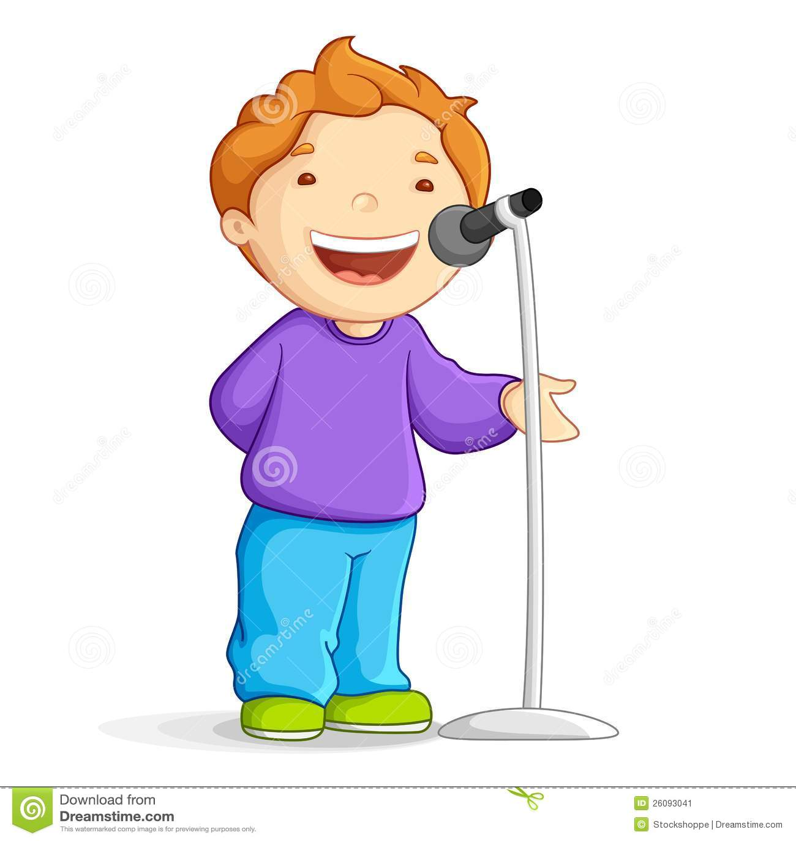 导航唱歌在话筒的男生的例证