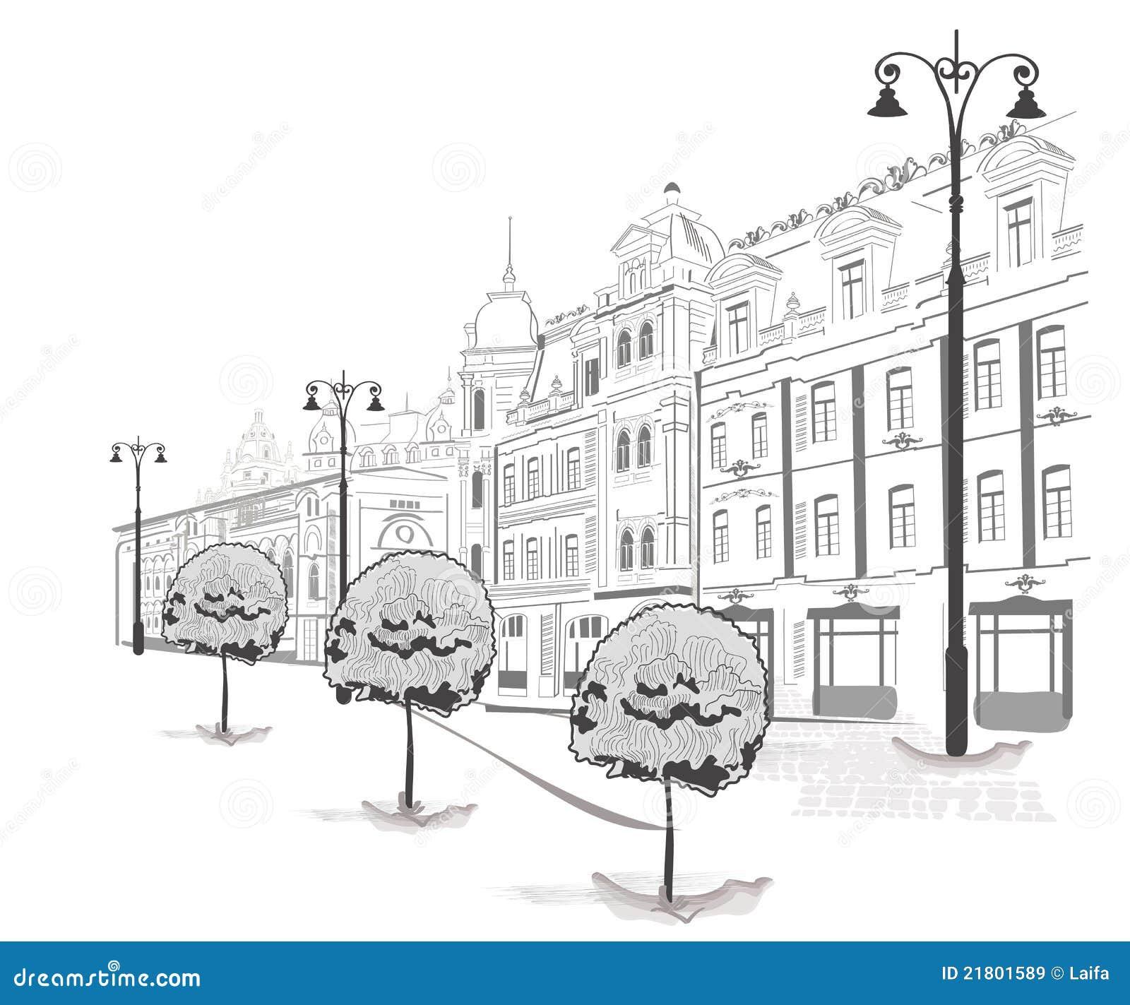 城市老系列速写街道