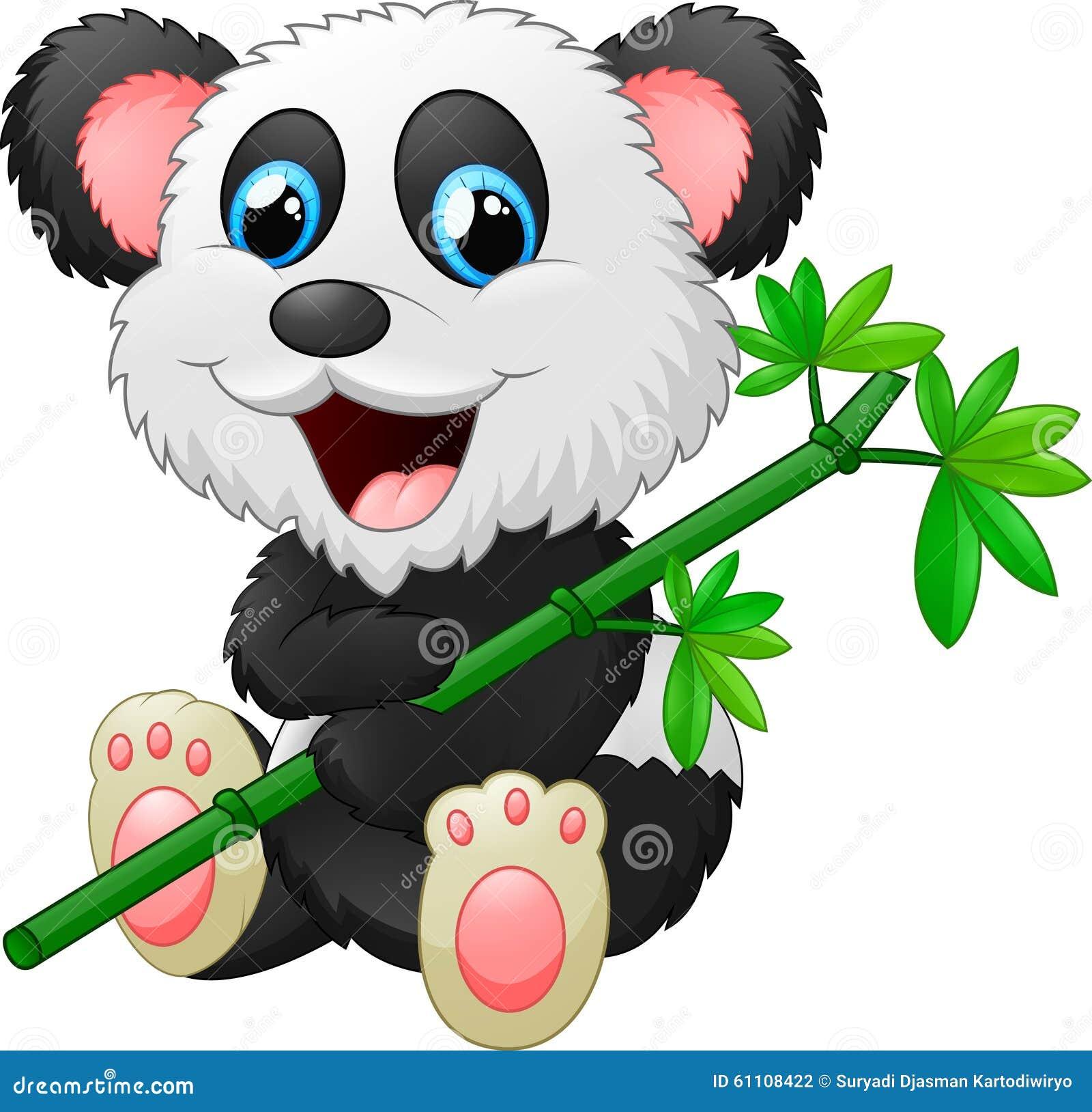 吃竹子的逗人喜爱的熊猫动画片