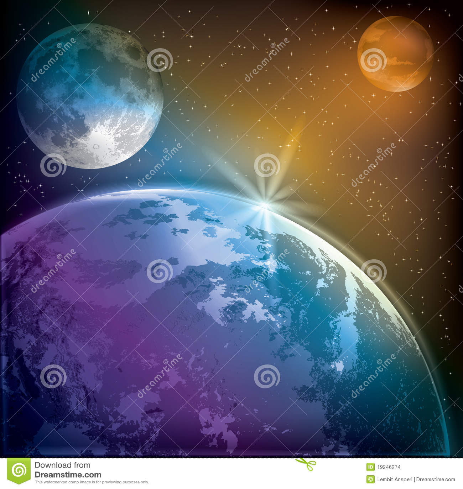 抽象背景地球毁损月亮