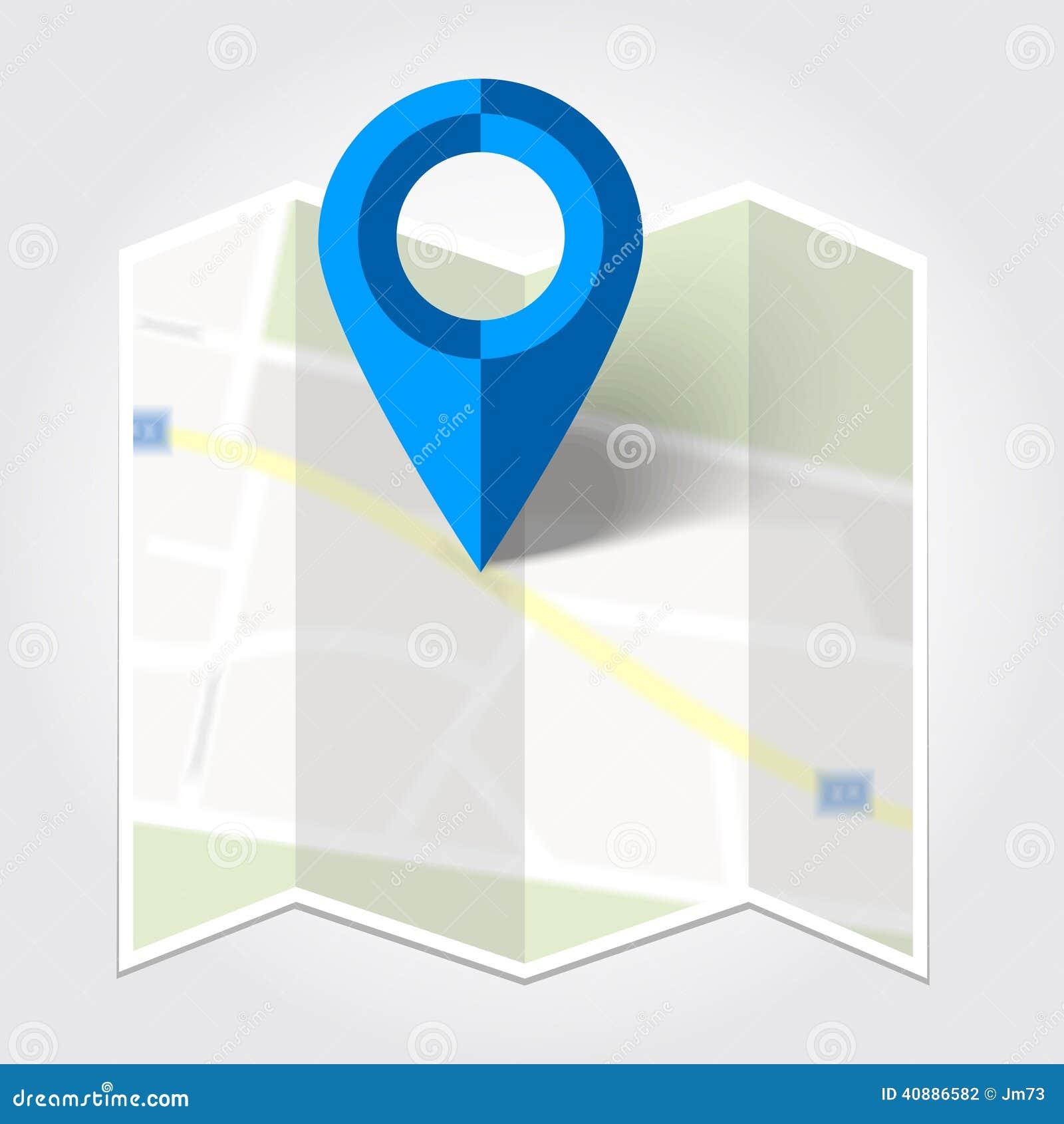抽象地图和蓝色地图标志
