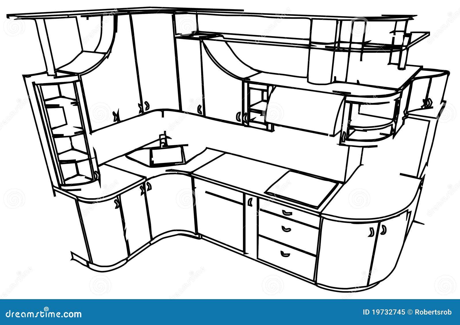 开放式厨房手绘