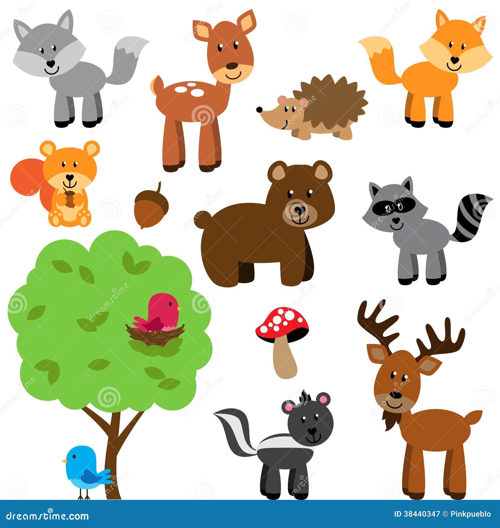 传染媒介套逗人喜爱的森林地和森林动物