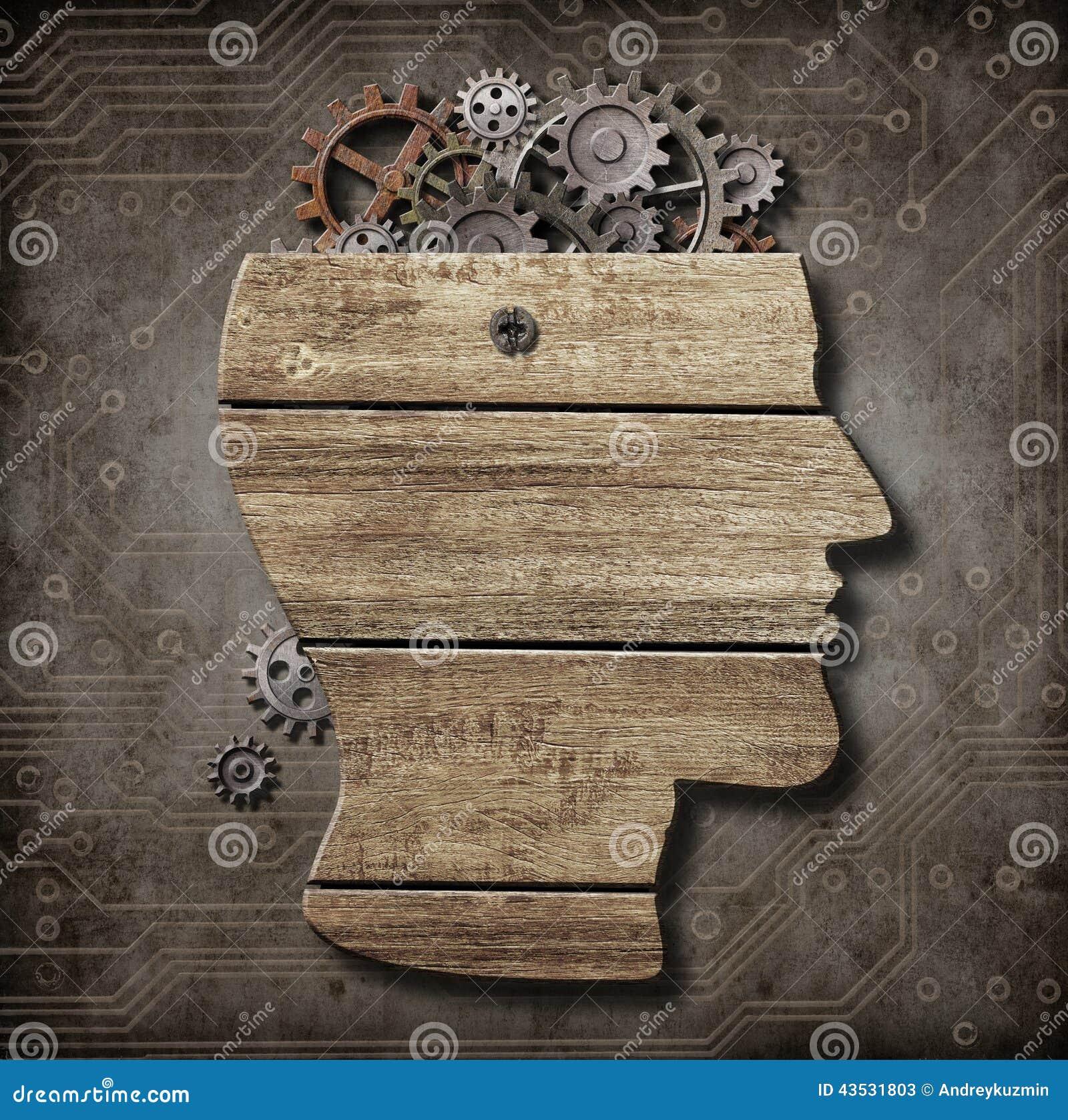 打开由木头做的脑子模型