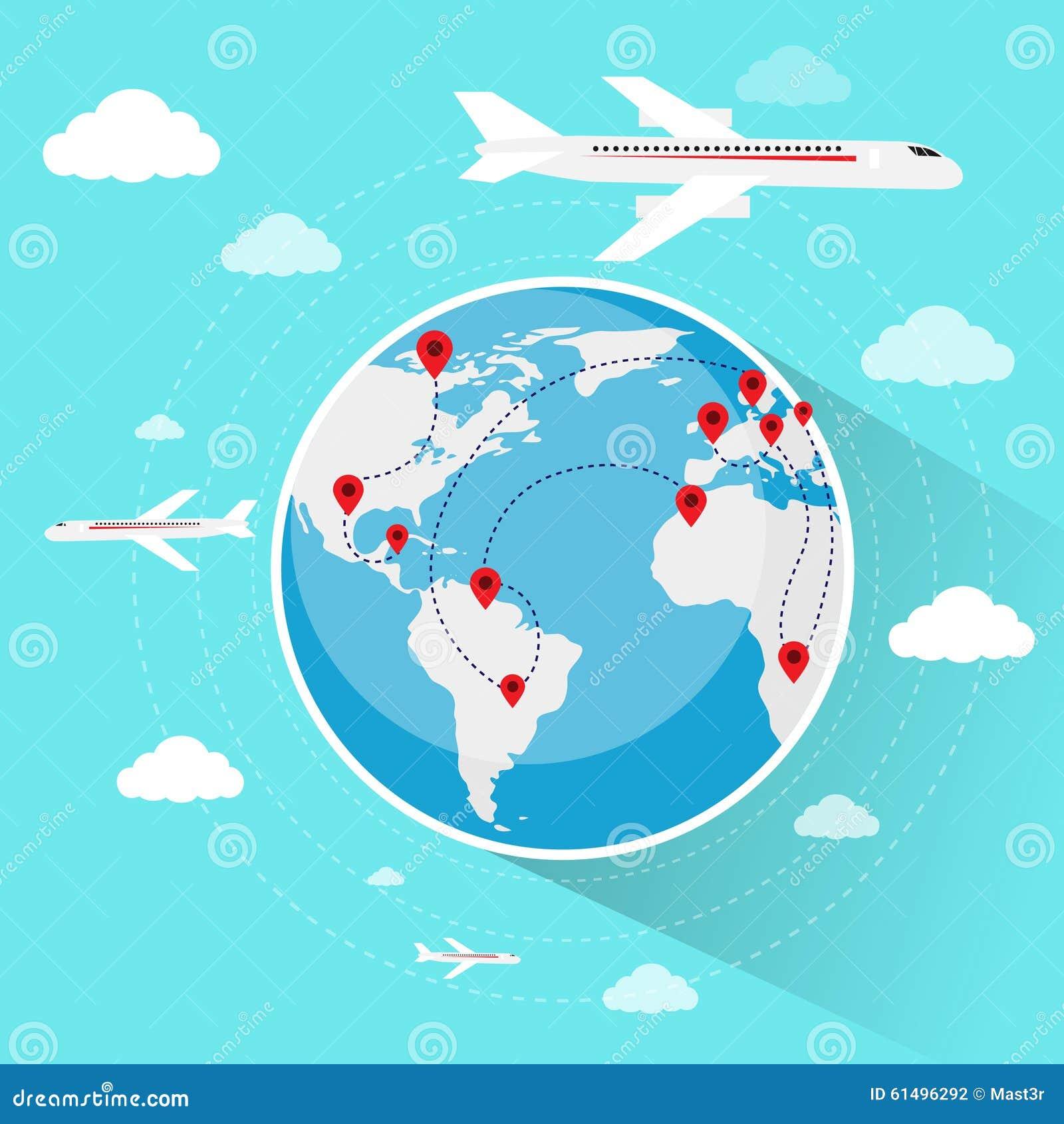 地球世界地图旅行假期旅行售票空中飞机飞行平的传染媒介例证.图片