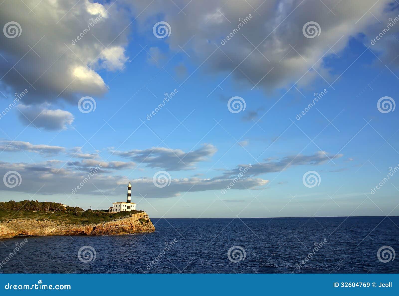 地中海灯塔 免版税库存图片