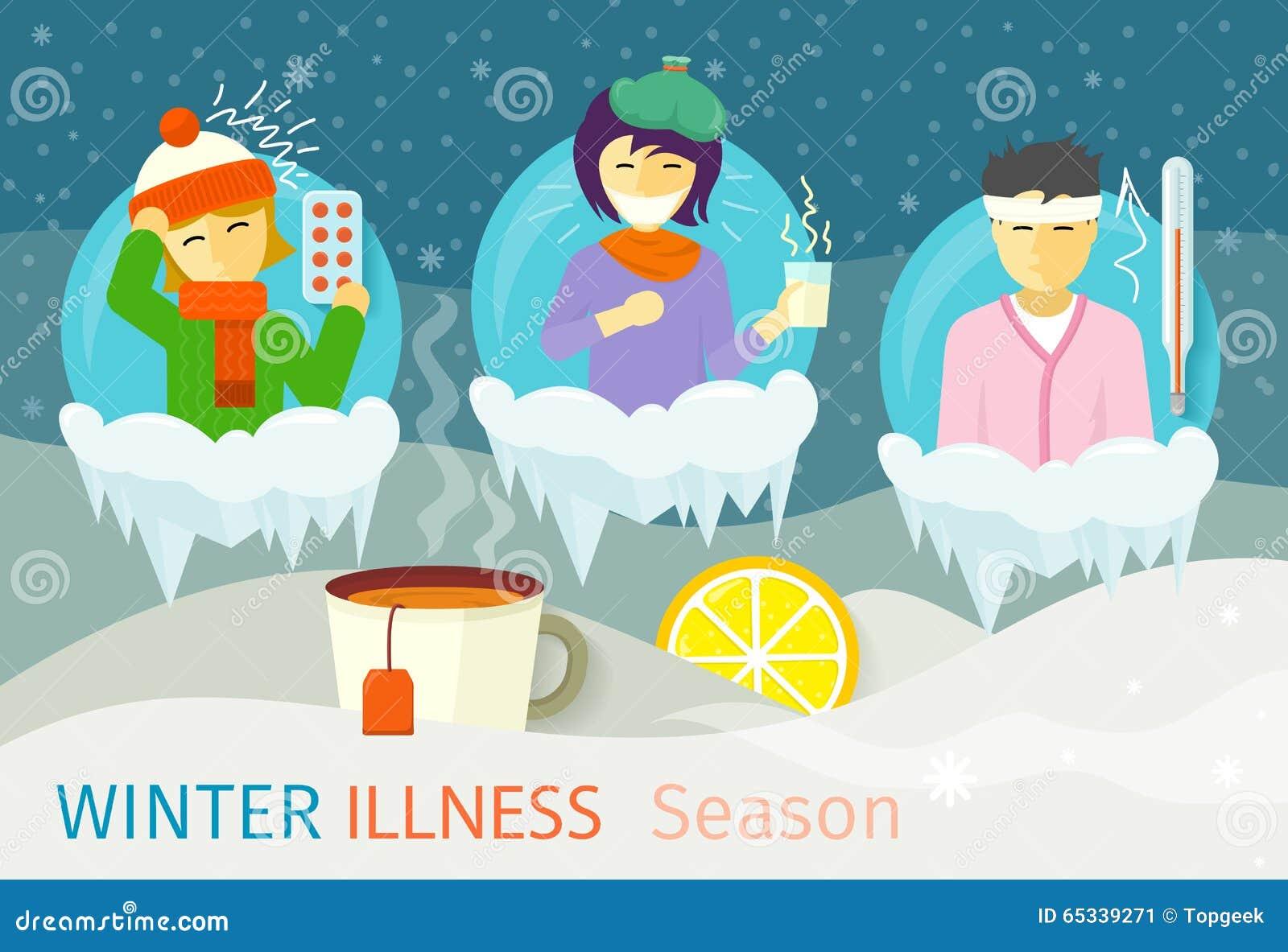 冬天病症季节人设计 冷和病,病毒和健康,流感传染,热病疾病,憔悴和图片