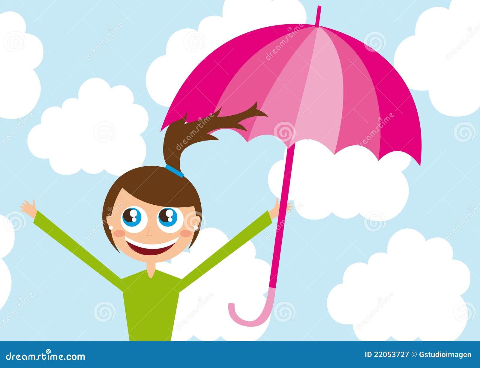 动画片在天空伞向量的女孩例证