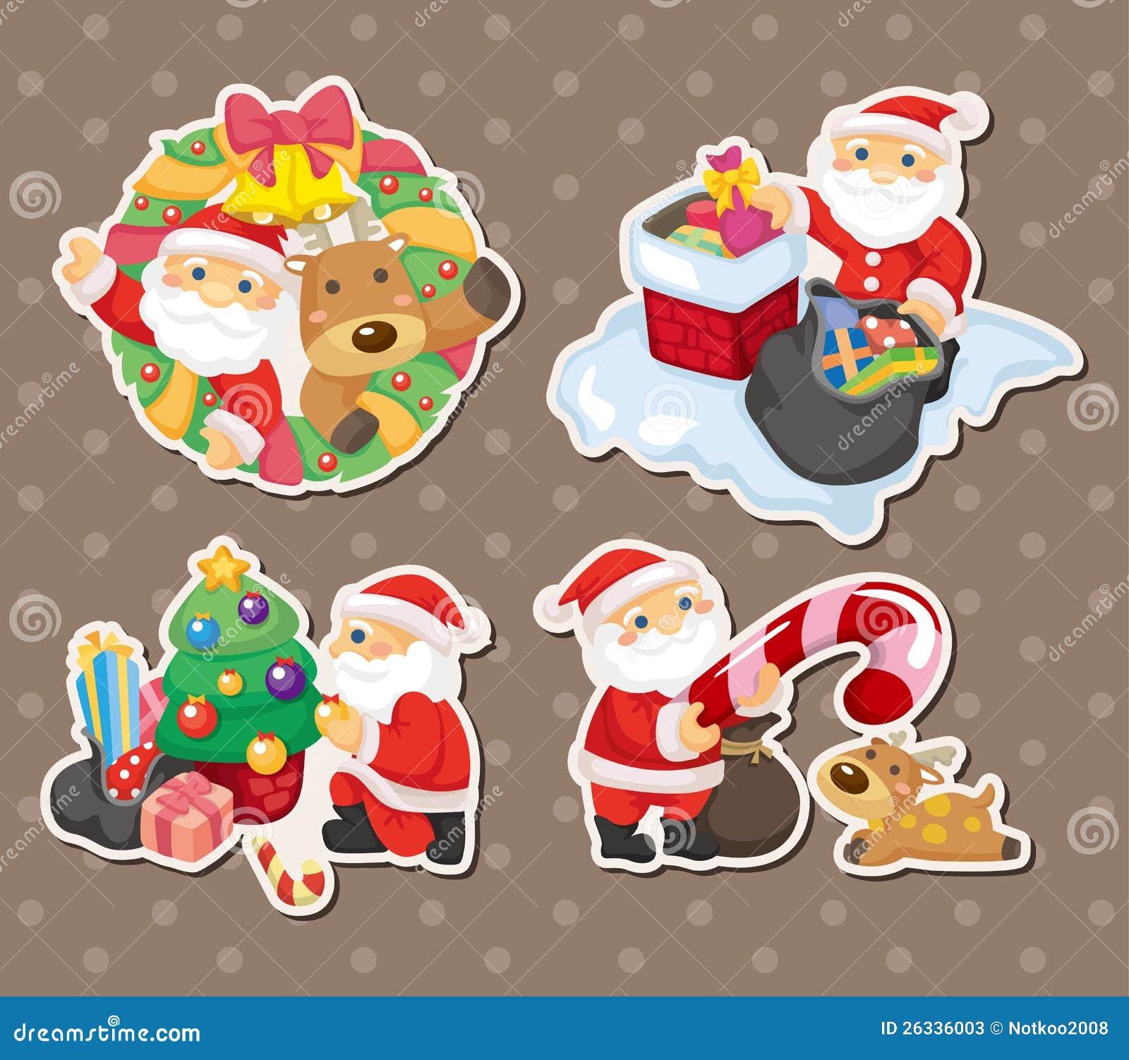 动画片圣诞老人圣诞节贴纸