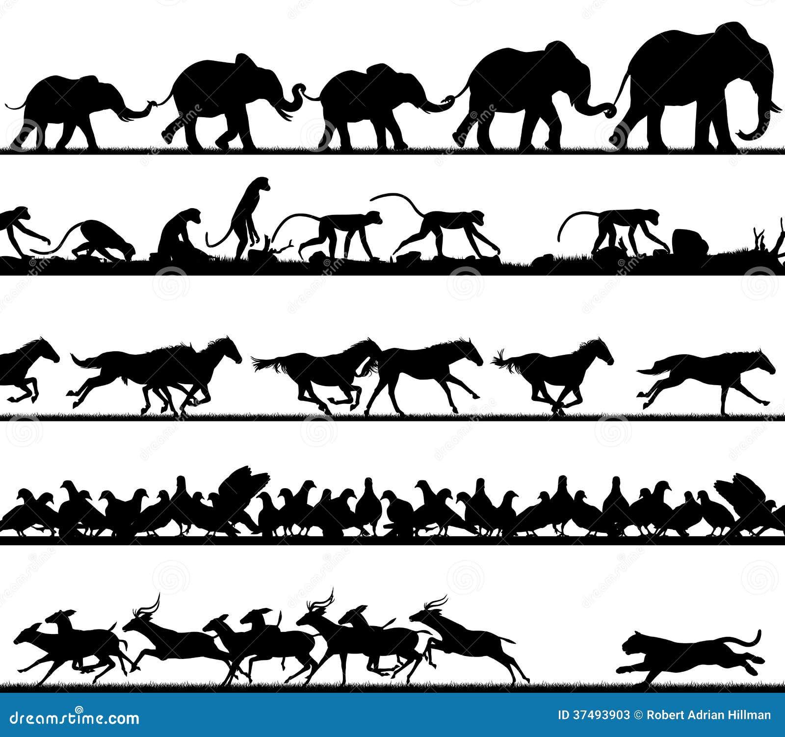 动物剪影前景作为