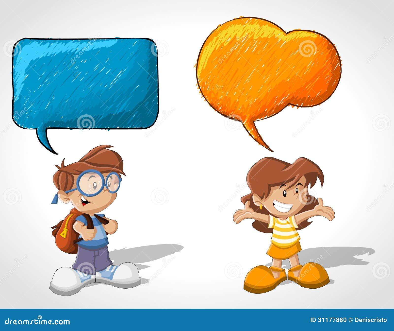 动画片儿童谈话 库存照片