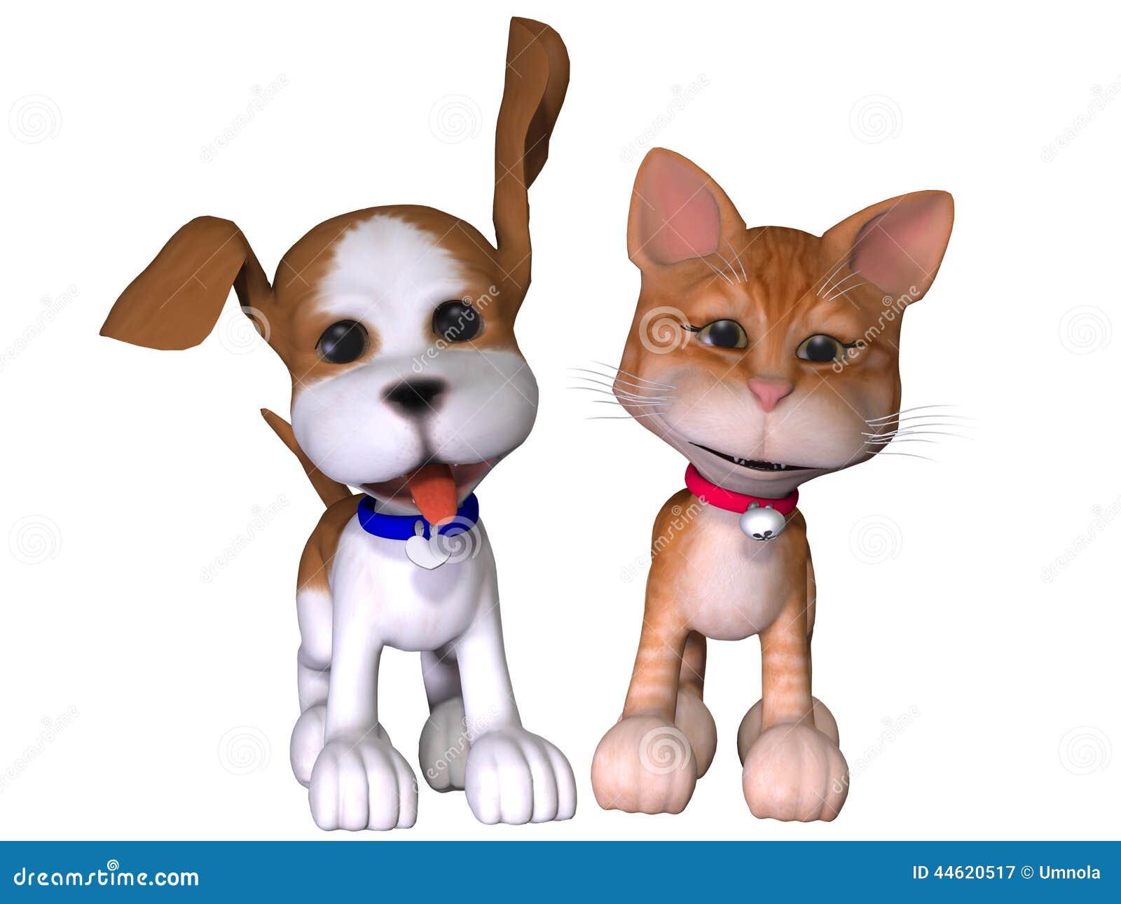 动画片狗和猫 库存例证图片