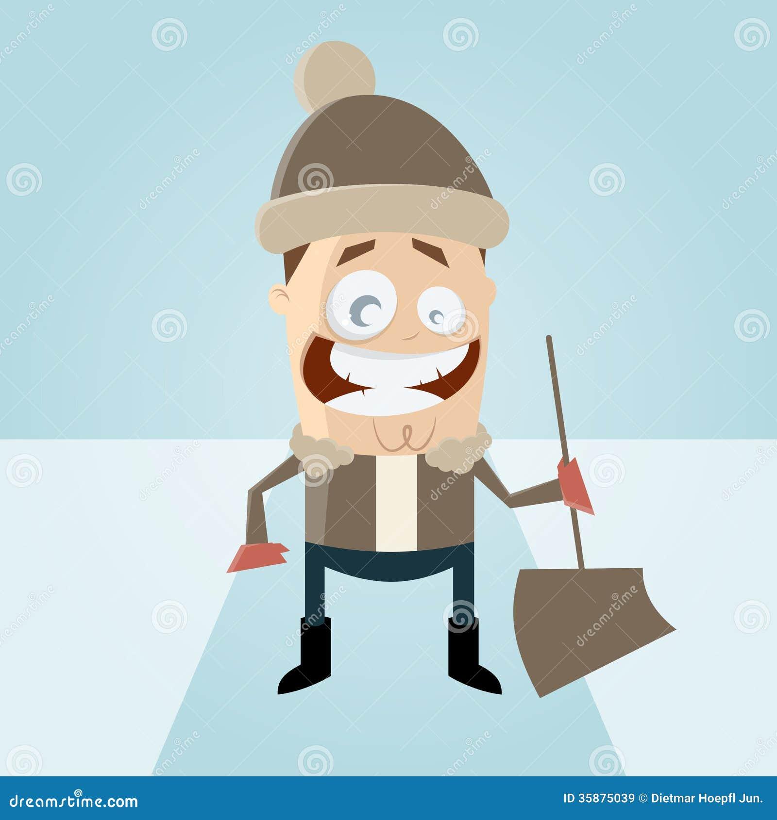 动画片人在与雪铁锹的冬天图片