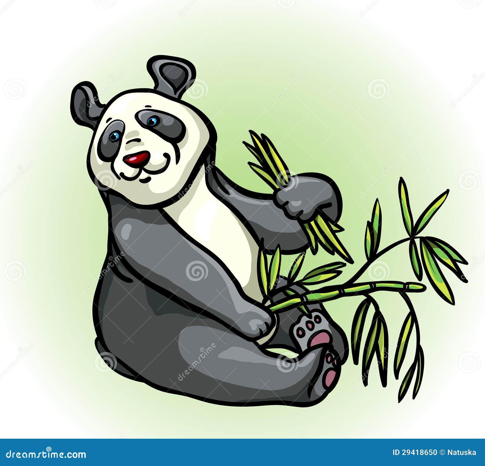 动画片熊猫和竹子叶子