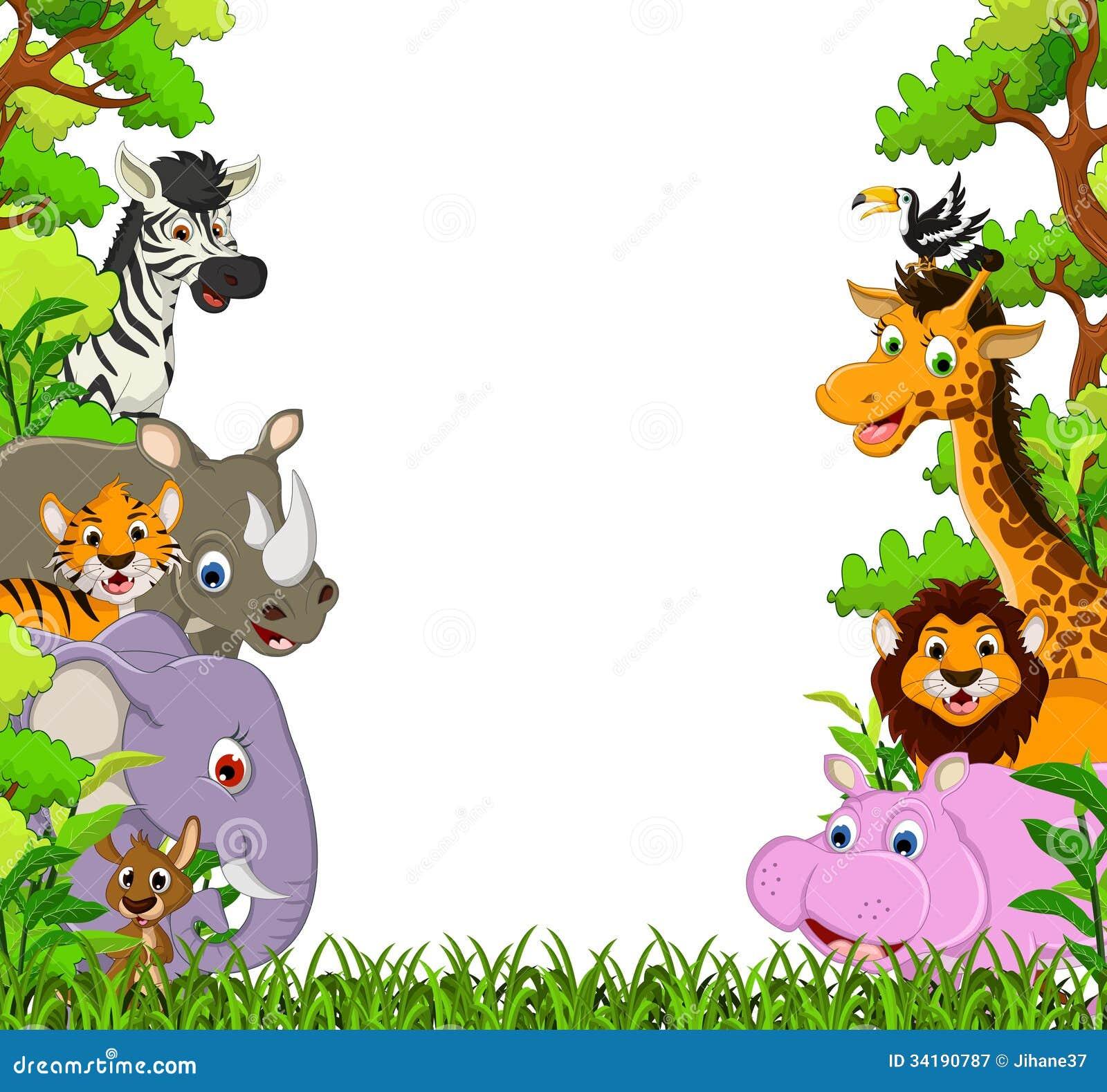 逗人喜爱的动物动画片有热带森林背景
