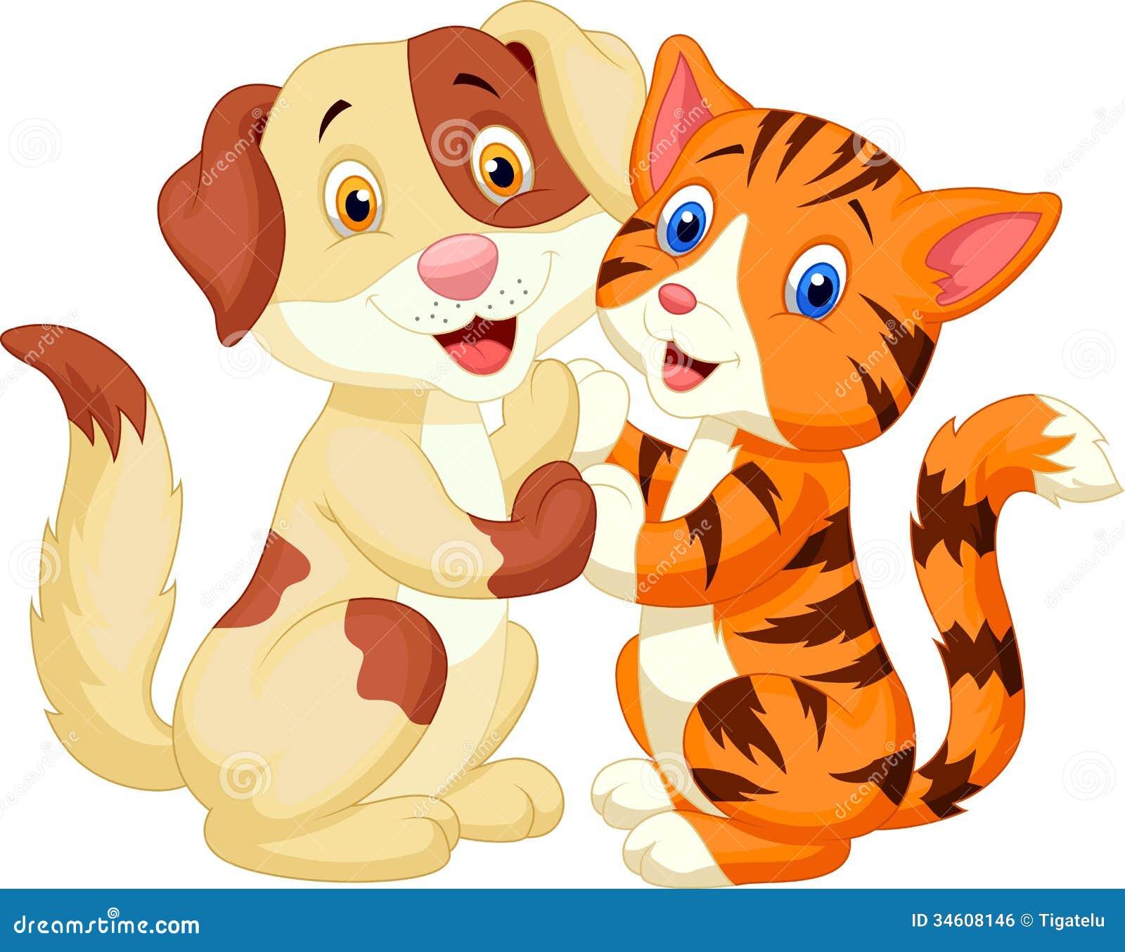 逗人喜爱的猫和狗动画片图片