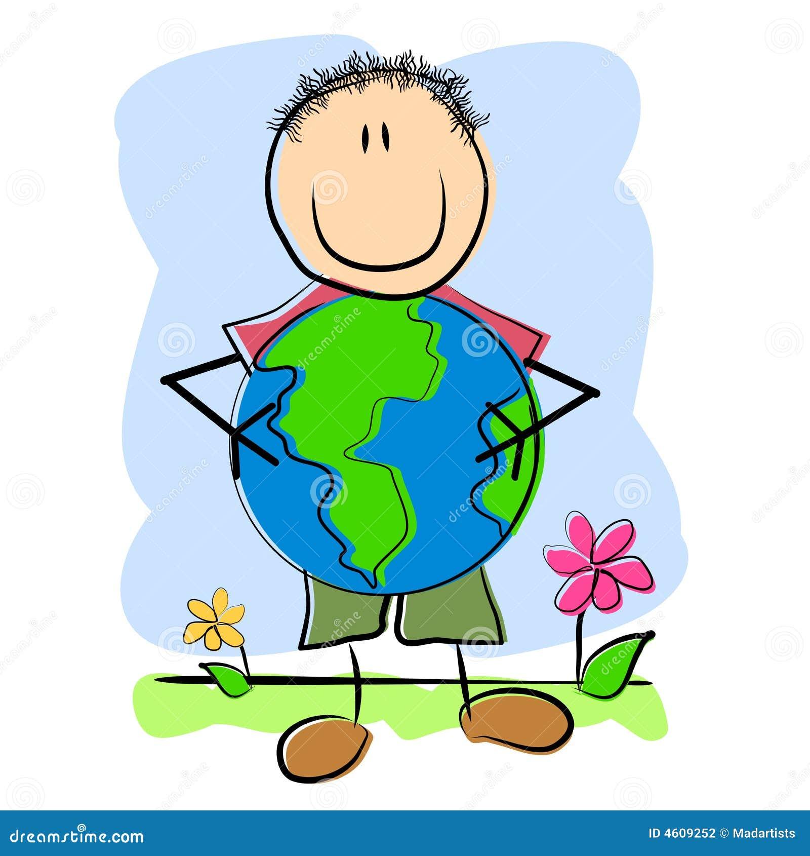 儿童纯稚图画地球