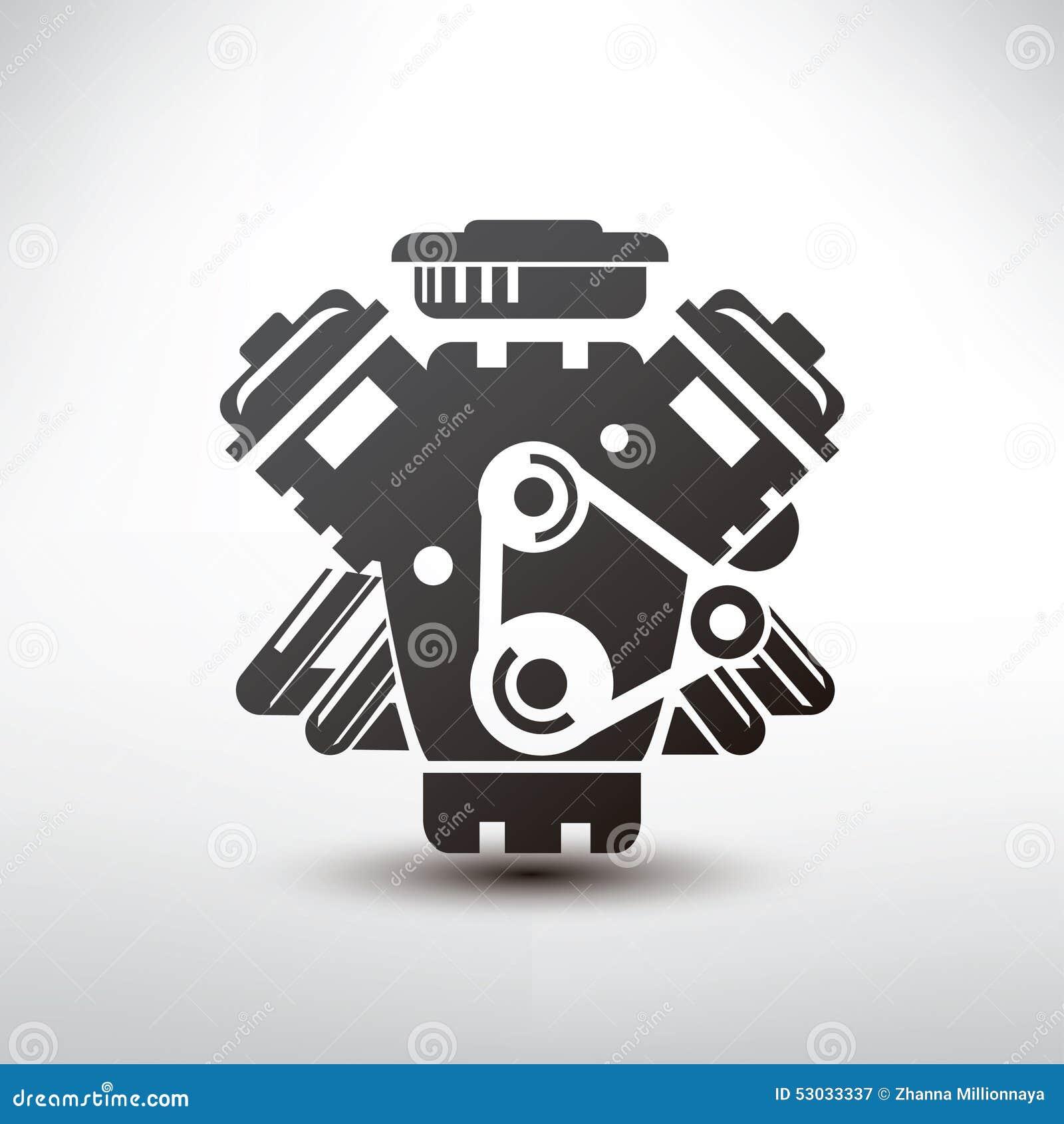 发动机标志,汽车马达风格化传染媒介剪影.图片